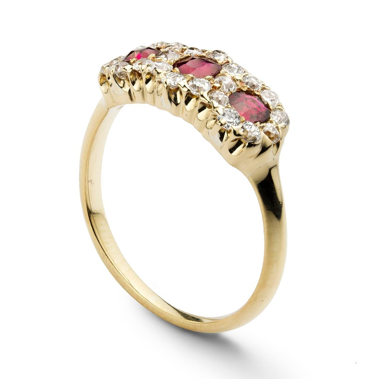 e68cbfef6 Tiffany and Co. Ruby and Diamond Triple Cluster Ring For Sale at 1stdibs