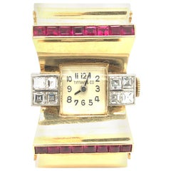 Tiffany & Co Ruby and Diamonds 14 Karat Gold Watch