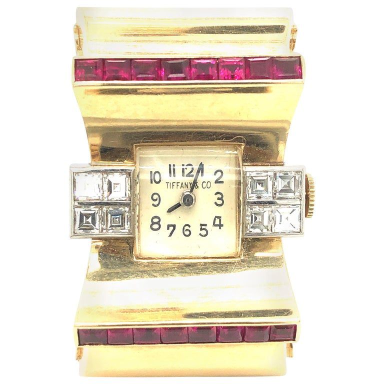 Tiffany & Co Ruby and Diamonds 14 Karat Gold Watch For Sale