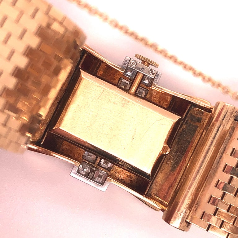Square Cut Tiffany & Co Ruby and Diamonds 14 Karat Gold Watch For Sale