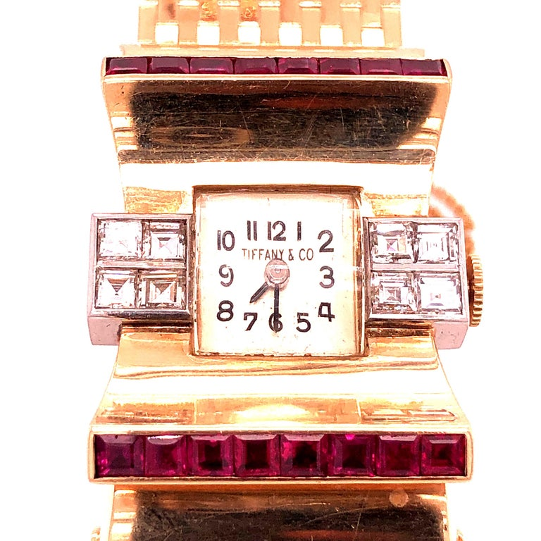 Tiffany & Co Ruby and Diamonds 14 Karat Gold Watch In Good Condition For Sale In Miami, FL