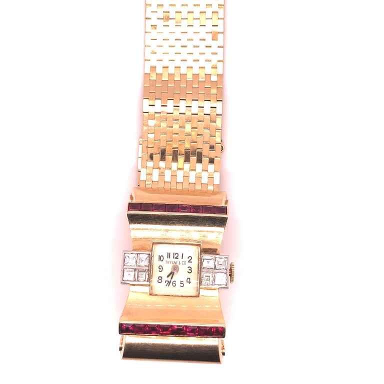 Women's Tiffany & Co Ruby and Diamonds 14 Karat Gold Watch For Sale