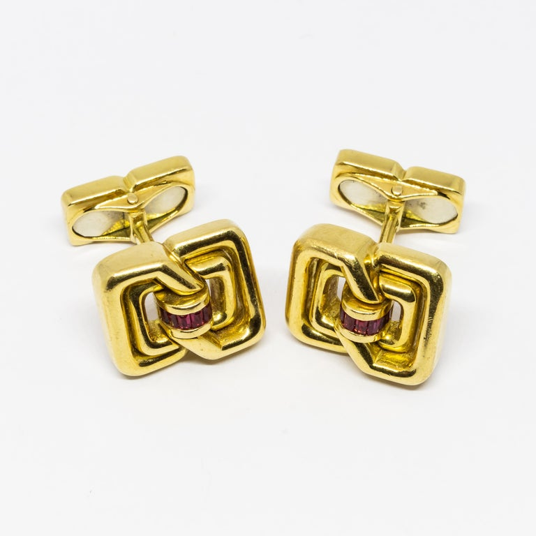 Retro Tiffany & Co. Ruby and Gold Cufflinks For Sale