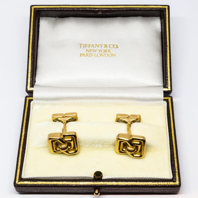 Men's Tiffany & Co. Ruby and Gold Cufflinks For Sale