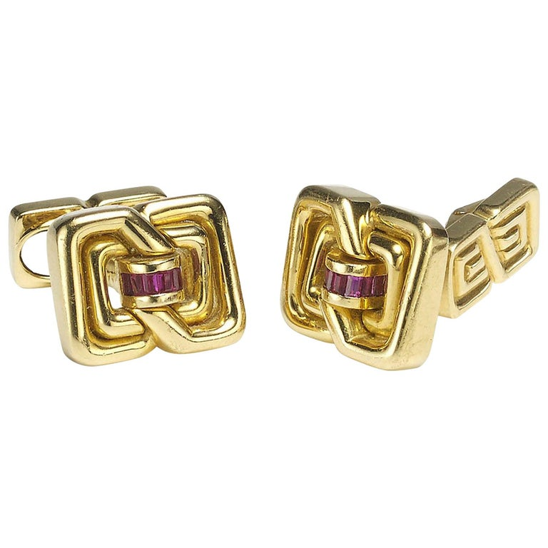 Tiffany & Co. Ruby and Gold Cufflinks For Sale