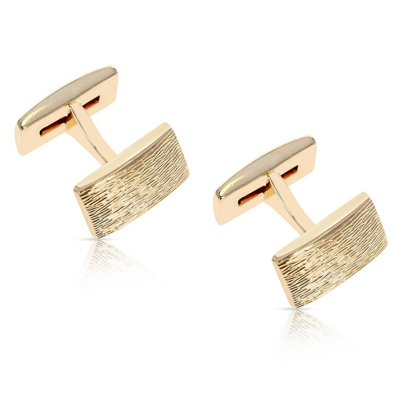 Square Cut Tiffany & Co. Ruby Cufflinks, 14k Yellow Gold For Sale