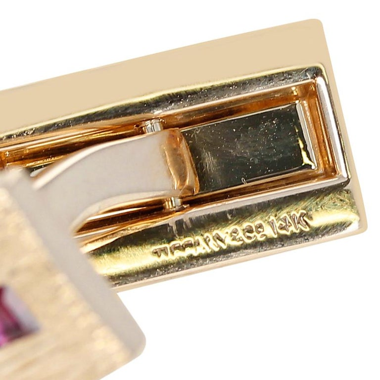 Tiffany & Co. Ruby Cufflinks, 14k Yellow Gold In Excellent Condition For Sale In New York, NY