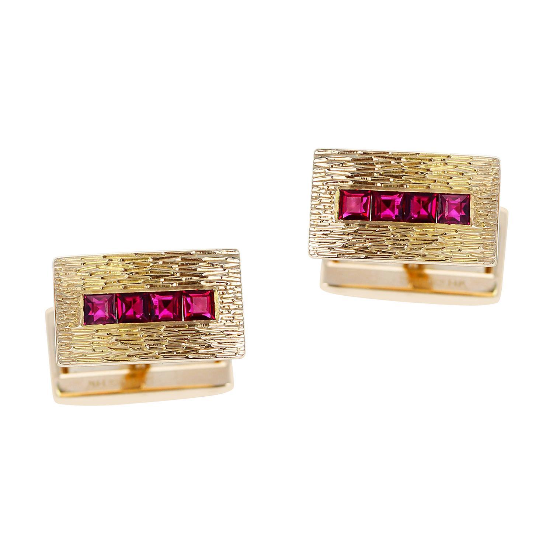 Tiffany & Co. Ruby Cufflinks, 14k Yellow Gold