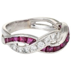Tiffany & Co. Ruby Diamond Band Ring Vintage Platinum Estate Fine Jewelry