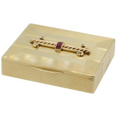 Tiffany & Co. Ruby Diamond Gold Compact Powder Case