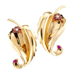 Tiffany & Co. Ruby Diamond Gold Retro Clip Brooches