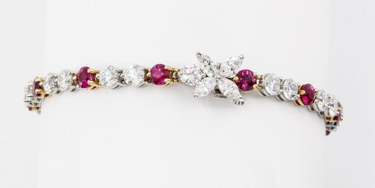 Round Cut Tiffany & Co. Ruby, Diamond, Platinum and 18 Karat Gold Victoria Bracelet For Sale
