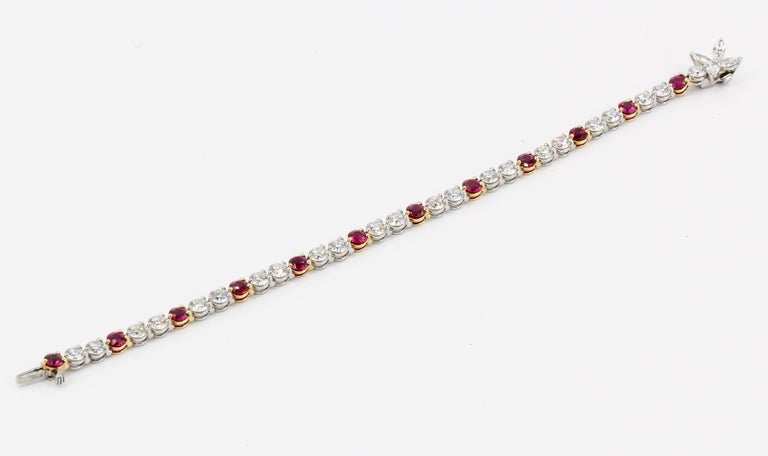 Tiffany & Co. Ruby, Diamond, Platinum and 18 Karat Gold Victoria Bracelet In Excellent Condition For Sale In New York, NY