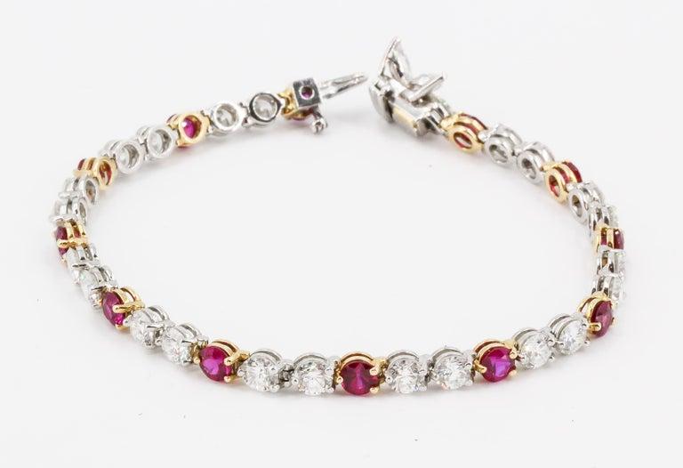 Women's Tiffany & Co. Ruby, Diamond, Platinum and 18 Karat Gold Victoria Bracelet For Sale