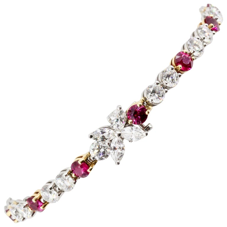 Tiffany & Co. Ruby, Diamond, Platinum and 18 Karat Gold Victoria Bracelet For Sale