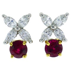 Tiffany & Co. Ruby Diamond Stud Earrings in Platinum and Yellow Gold Studs
