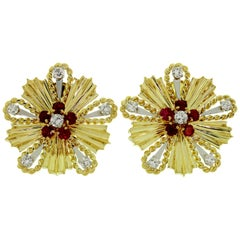 Tiffany & Co. Ruby Diamond Yellow Gold Starburst 1960s Earrings