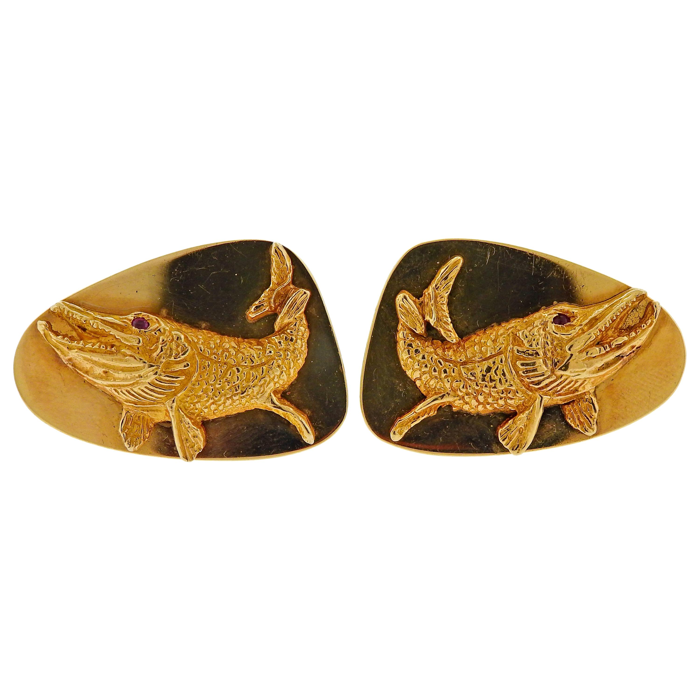 Tiffany & Co. Ruby Gold Fish Cufflinks