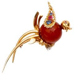 Tiffany & Co. Ruby, Sapphire and Diamond Bird Pin