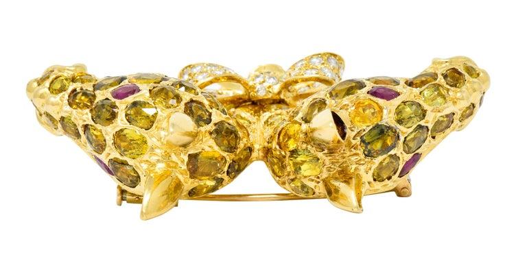 Tiffany & Co. Ruby Sapphire Diamond 18 Karat Gold Giraffe Brooch For Sale 5