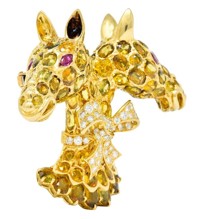Contemporary Tiffany & Co. Ruby Sapphire Diamond 18 Karat Gold Giraffe Brooch For Sale