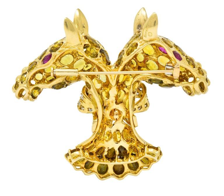 Brilliant Cut Tiffany & Co. Ruby Sapphire Diamond 18 Karat Gold Giraffe Brooch For Sale