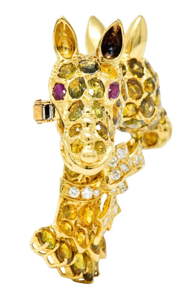 Women's or Men's Tiffany & Co. Ruby Sapphire Diamond 18 Karat Gold Giraffe Brooch For Sale