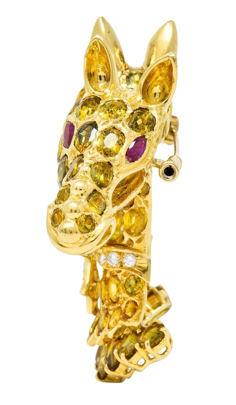 Tiffany & Co. Ruby Sapphire Diamond 18 Karat Gold Giraffe Brooch For Sale 2