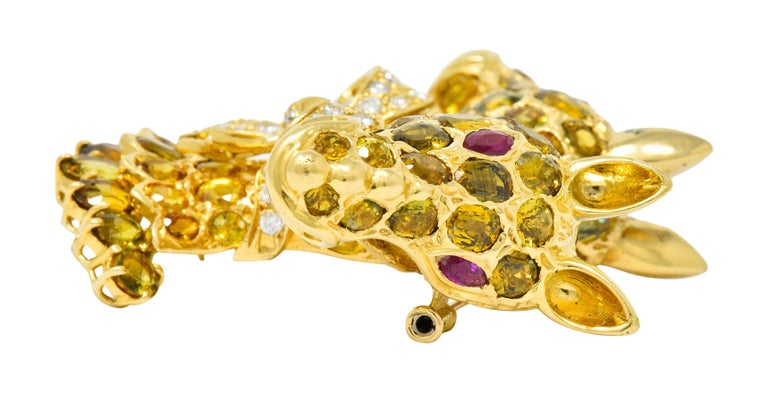 Tiffany & Co. Ruby Sapphire Diamond 18 Karat Gold Giraffe Brooch For Sale 3