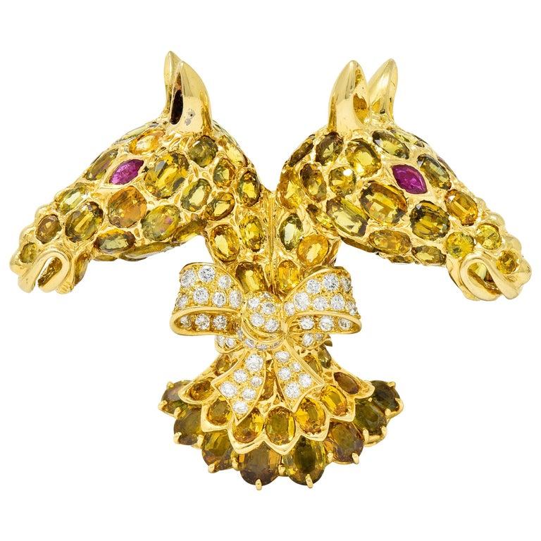 Tiffany & Co. Ruby Sapphire Diamond 18 Karat Gold Giraffe Brooch For Sale