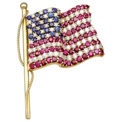 Tiffany & Co. Ruby Sapphire Diamond 18k Gold American Flag Brooch