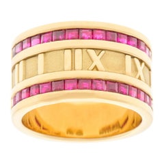 Tiffany & Co. Ruby Set Gold Atlas Ring