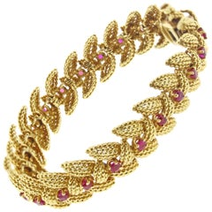 Tiffany & Co. Ruby Textured Gold, 1950s Bracelet