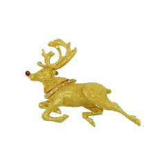 Tiffany & Co. Rudolf Reindeer Yellow Gold Brooch