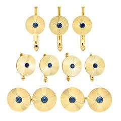 Tiffany & Co. Sapphire 14 Karat Gold Retro Men's Radiating Disk Dress Cufflinks