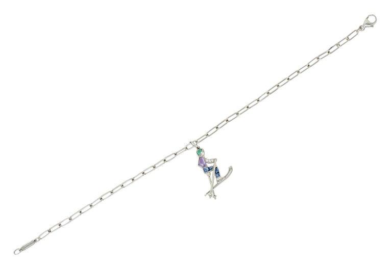 Tiffany & Co. Sapphire Amethyst Emerald Diamond Platinum Ski Charm Bracelet For Sale 4