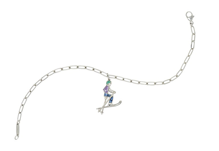 Contemporary Tiffany & Co. Sapphire Amethyst Emerald Diamond Platinum Ski Charm Bracelet For Sale