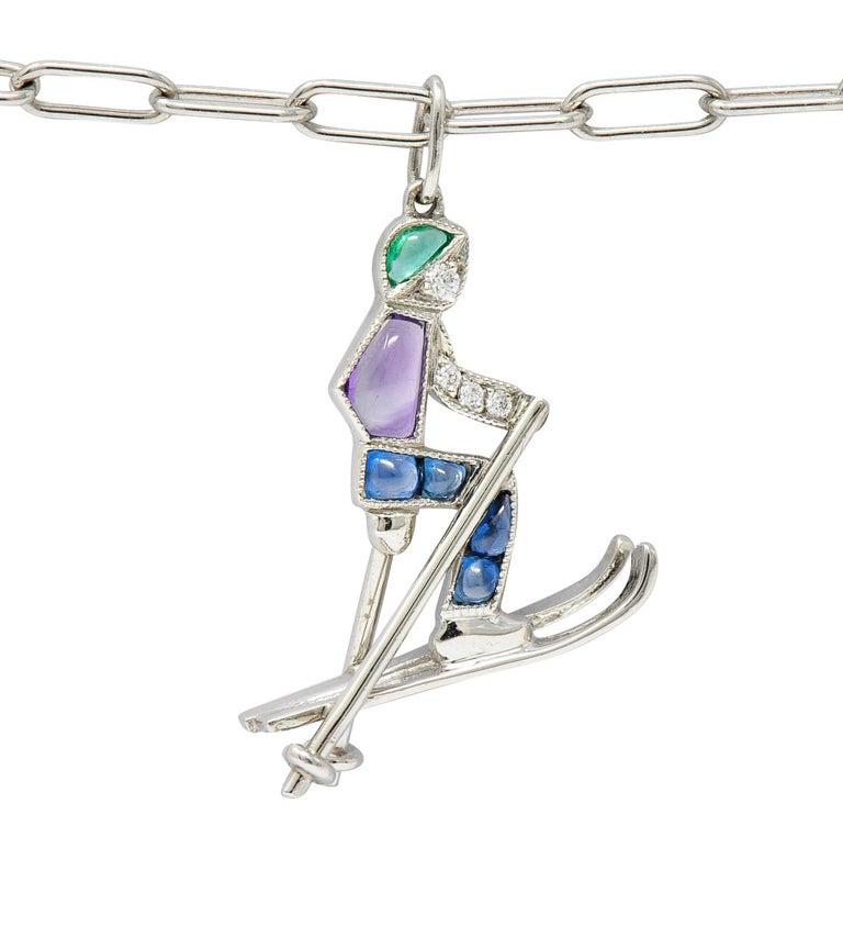 Tiffany & Co. Sapphire Amethyst Emerald Diamond Platinum Ski Charm Bracelet In Excellent Condition For Sale In Philadelphia, PA