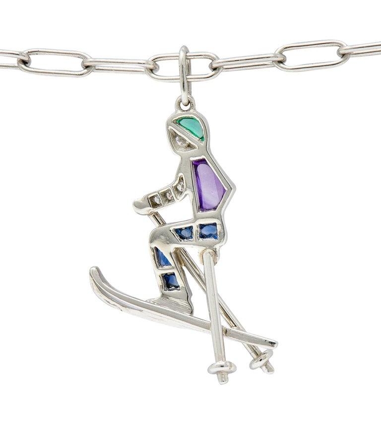 Women's or Men's Tiffany & Co. Sapphire Amethyst Emerald Diamond Platinum Ski Charm Bracelet For Sale