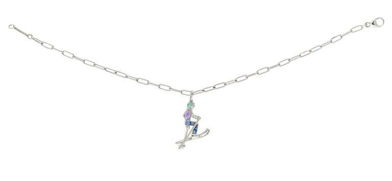 Tiffany & Co. Sapphire Amethyst Emerald Diamond Platinum Ski Charm Bracelet For Sale 3