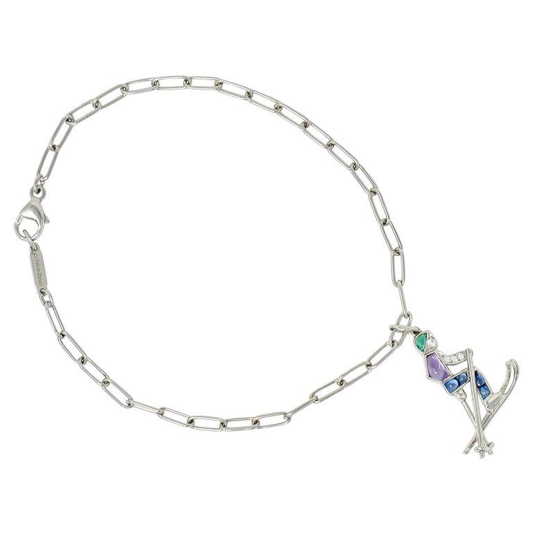 Tiffany & Co. Sapphire Amethyst Emerald Diamond Platinum Ski Charm Bracelet For Sale