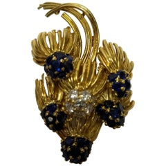 Tiffany & Co. Sapphire and Diamond 18 Karat Yellow Gold Brooch