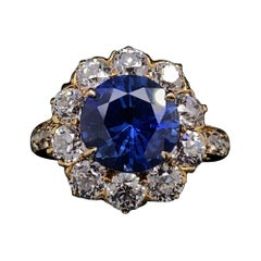 Tiffany & Co. Sapphire and Diamond Cluster Engagement Ring, Circa 1960