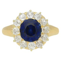 Tiffany & Co. Sapphire and Diamond Cluster Ring, American, circa 1900