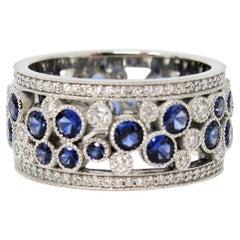 Tiffany & Co. Sapphire and Diamond Cobblestone Band Ring in Platinum