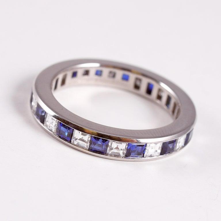 Tiffany and Co. platinum blue sapphire and diamond