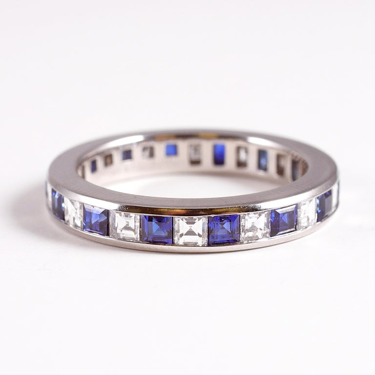 Emerald Cut Tiffany & Co. Sapphire and Diamond Eternity Band For Sale