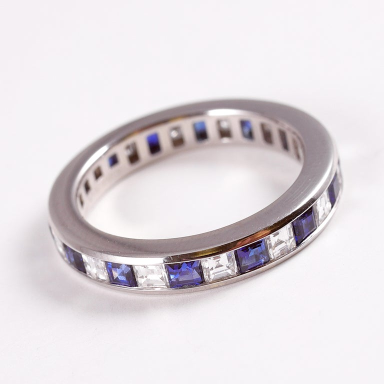 Tiffany & Co. Sapphire and Diamond Eternity Band In Good Condition For Sale In Dallas, TX