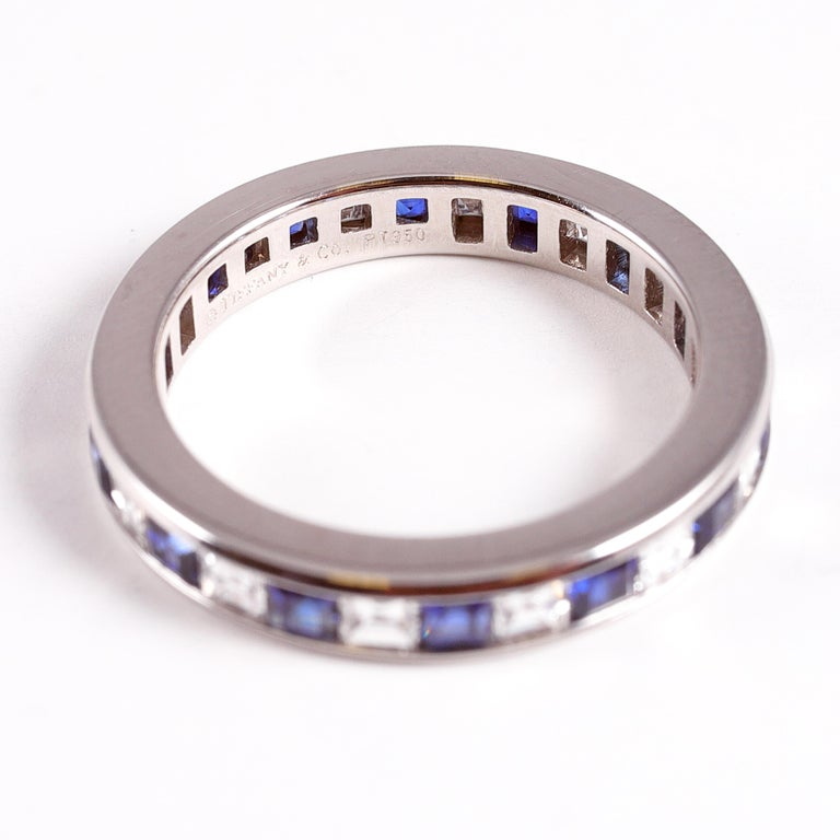 Women's or Men's Tiffany & Co. Sapphire and Diamond Eternity Band For Sale