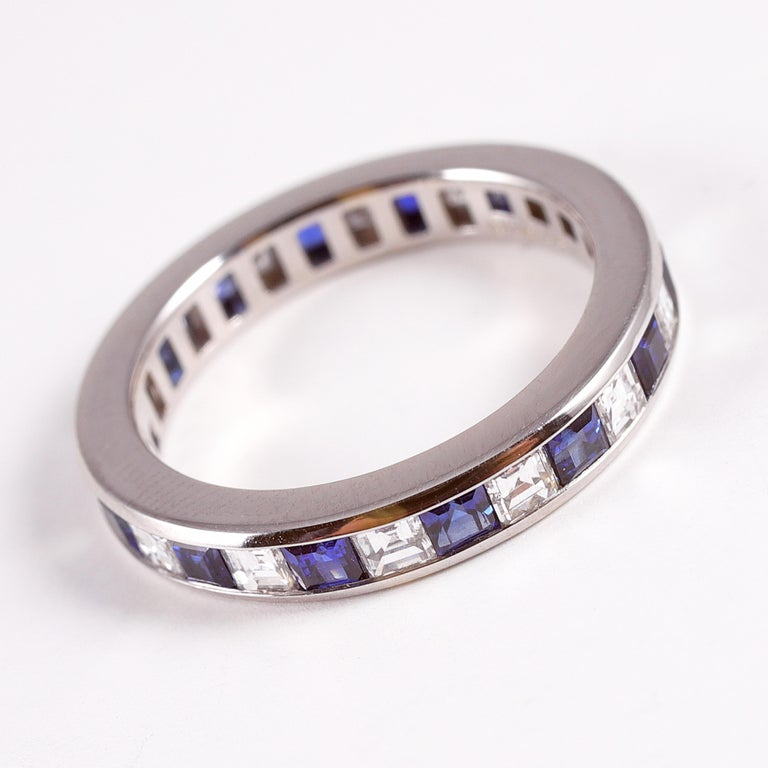 Tiffany & Co. Sapphire and Diamond Eternity Band For Sale 2